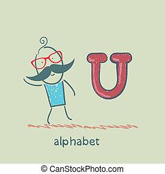 standing, lettera alfabeto, uomo