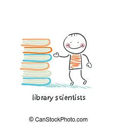 standing, libri, biblioteca, scienziati