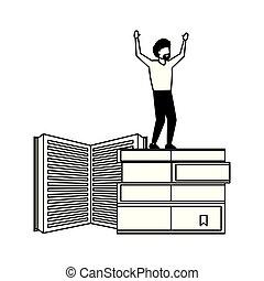 standing, libri, pila, uomo, vincente