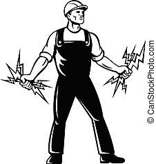 standing, lineworker, elettricista, bullone, bianco, presa a...