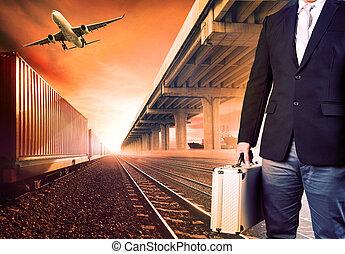 standing, logistico, affari, metallo, breifcase, contro, investimento, airpalne, fondo, nave, porto, trasporto, uomo