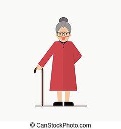 standing, lunghezza, pieno, sorridente, nonna