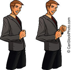 Young standing businessman in grey suit clenches one's fist. He shows confidence and success