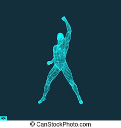 Standing Man. Human with arm up. Silhouette for sport championship.