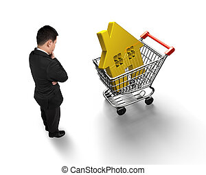 Standing man looking at golden house in shopping cart