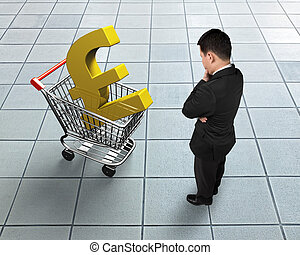Standing man looking at shopping cart with golden pound sterling symbol