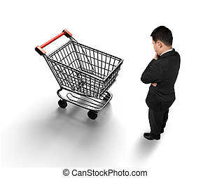 Standing man looking at shopping cart top view
