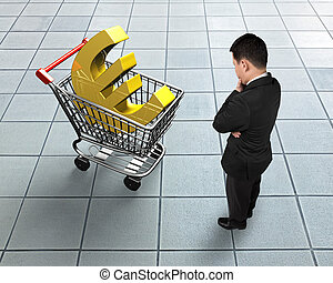 Standing man looking at shopping cart with golden euro sign
