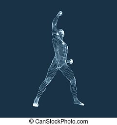 Standing Man. Silhouette for sport championship. Victory celebration.