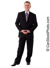 standing man - smiling young man standing against isolated...