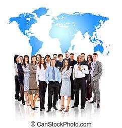 standing, mappa, terra, uomini affari, fronte