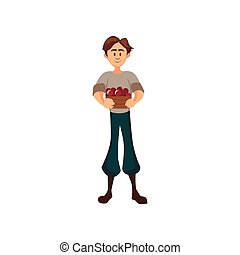 standing, maschio, ciliegia, illustrazione, vettore, contadino, cesto, bacche, cartone animato, giardiniere, raccolta