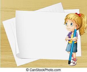 standing, matita, triste, carte, fronte, ragazza, vuoto