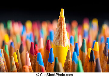 standing, matite, concetto, folla, colorare, rappresentare, fuori