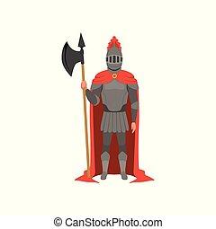 standing, medievale, mantello, cavaliere, carattere, illustrazione, vettore, fondo, ascia, bianco, armato, rosso