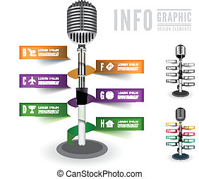 Standing microphone for infographics or discography. Vector illustration