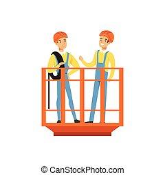 standing, minerario, lavoro, industria, ascensore, miniera, illustrazione, uniforme, carbone, vettore, minatori, professionale, maschio