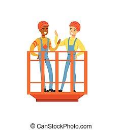 standing, minerario, lavoro, parlare, industria, ascensore, miniera, illustrazione, uniforme, carbone, vettore, minatori, professionale, sorridente, maschio