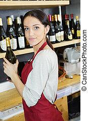 standing, negozio, commessa, mensole, contro, felice, vino