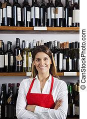 standing, negozio, commessa, mensole, contro, fiducioso, vino