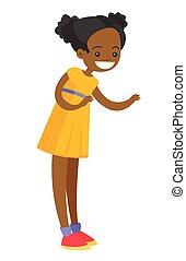 standing., niña, poco, longitud completa, african - american
