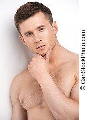 standing, nudo, chest., isolato, pensieroso, fondo, ritratto, bianco, bello, sopra, uomo