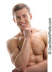 standing, nudo, sopra, isolato, su, dall'aspetto, sportsman., macchina fotografica, fondo, chiudere, sexy, sorridente, bianco