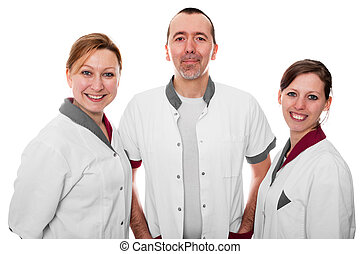 standing nursing staff is happy, isolated