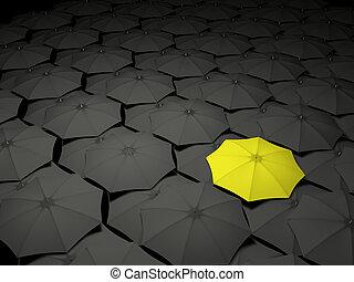 standing, ombrello, folla, fuori