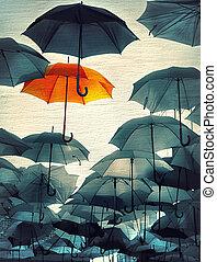 standing, ombrello, fuori