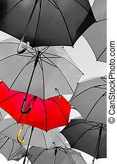 standing, ombrello, rosso, fuori