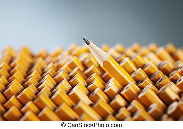 Standing out from the Crowd - Sharpened pencil amongst the ...