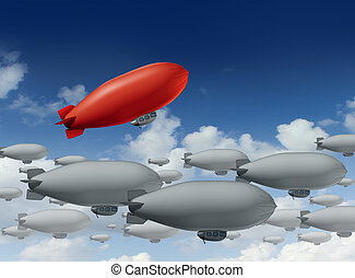 Standing out from the crowd with a group of grey blimps going in a straight direction and a leading red blimp going up as a special visionary individual with a success strategy on a sky.