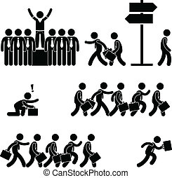 A set of pictogram representing the concept of standing out among the crowd in business world.