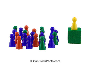 Standing out - Single yellow figure addressing a colorful...