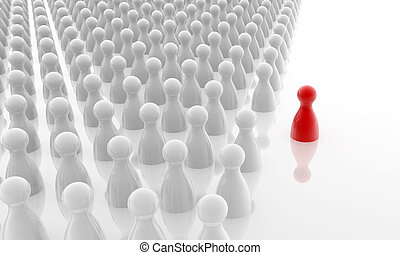 standing out the crowd - red pawn standing out the white ...