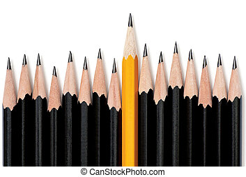 Standing Out - Uneven row of black pencils with one yellow...