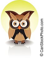 standing owl isolated
