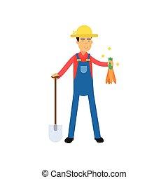 standing, pala, mani, carote, carattere, contadino, tuta, maschio, cartone animato, felice