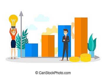 standing, persone affari, grafico, su, salita