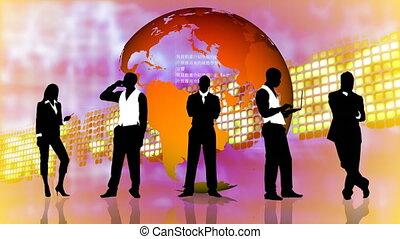 standing, persone affari, silhouette, sfondo animazione, mercato, casato