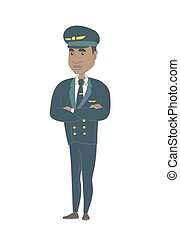 standing, piegato, giovane, arms., africano, pilota