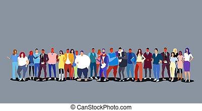 standing, pieno, gruppo, folla, persone, grande, uomini, businesspeople, insieme, lunghezza, diverso, orizzontale, donne