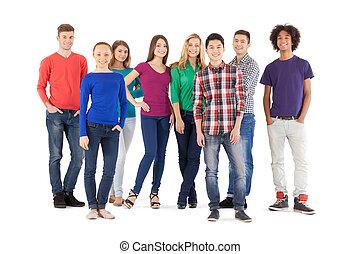 standing, pieno, persone, persone., isolato, giovane, allegro, mentre, macchina fotografica, casuale, lunghezza, bianco, sorridente