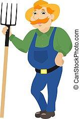 standing, pitchforks, cartone animato, vettore, contadino