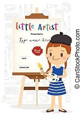 standing, poco, cavalletto, artista, legno, fronte, cartone ...