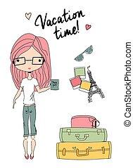 standing, presa a terra, valigie, vacanza, prossimo, passaporto, pronto, ragazza