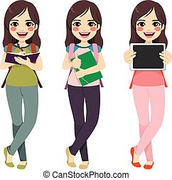 standing, ragazza, brunetta, studente