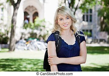 standing, ragazza, giovane, università