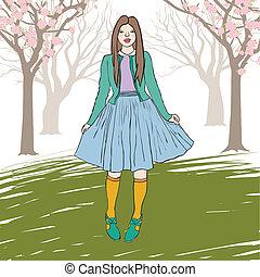 standing, ragazza, vettore, giovane, illustrazione